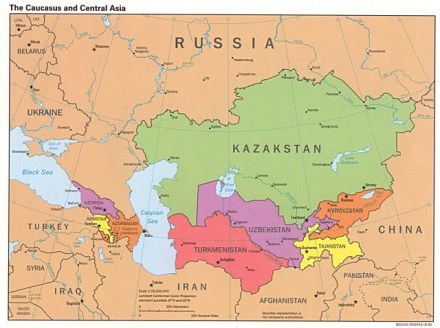 Kyrgyzstan is located between Kazakstan and China (Map courtesy of Wikimedia Commons)